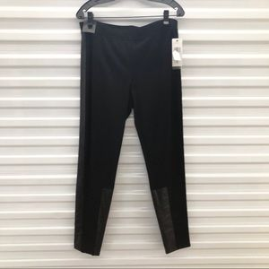 NWT DKNY Leather Accent Leggings Large